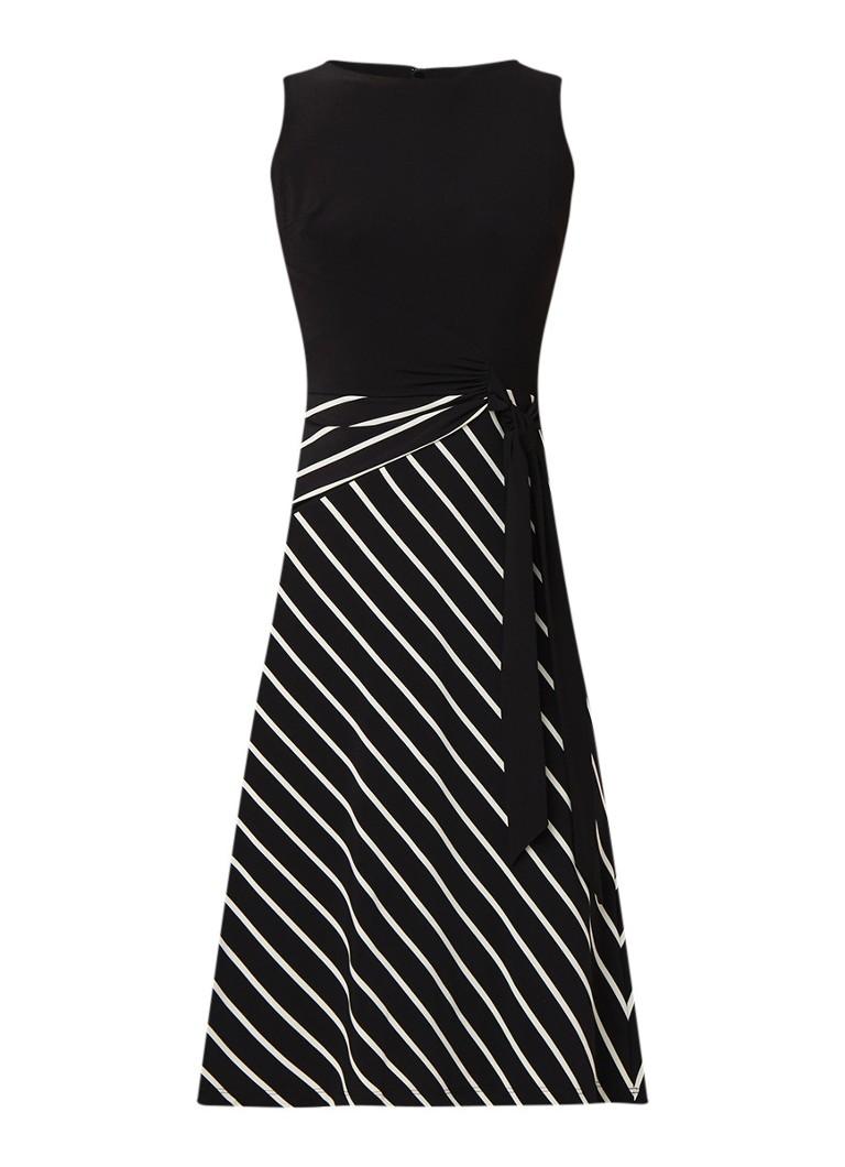 Ralph Lauren Tuniekjurk met streepdessin en strikceintuur zwart