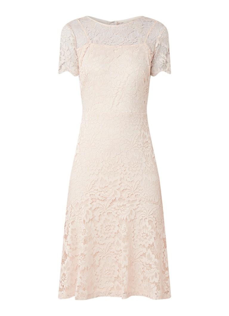 Ralph Lauren Loki midi-jurk van gebloemd guipure kant lichtroze