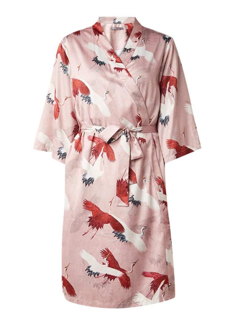 Essenza Sarai Izia kimono van satijn met strikceintuur en vogeldessin