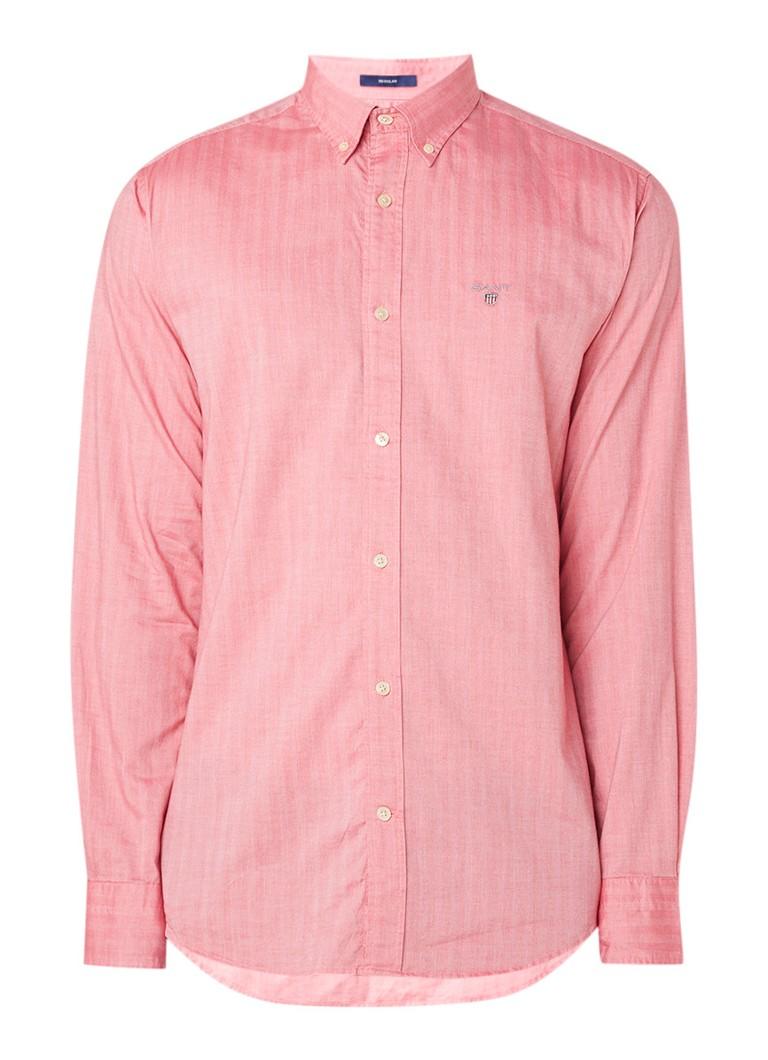 Image of Gant Regular fit overhemd met logoborduring