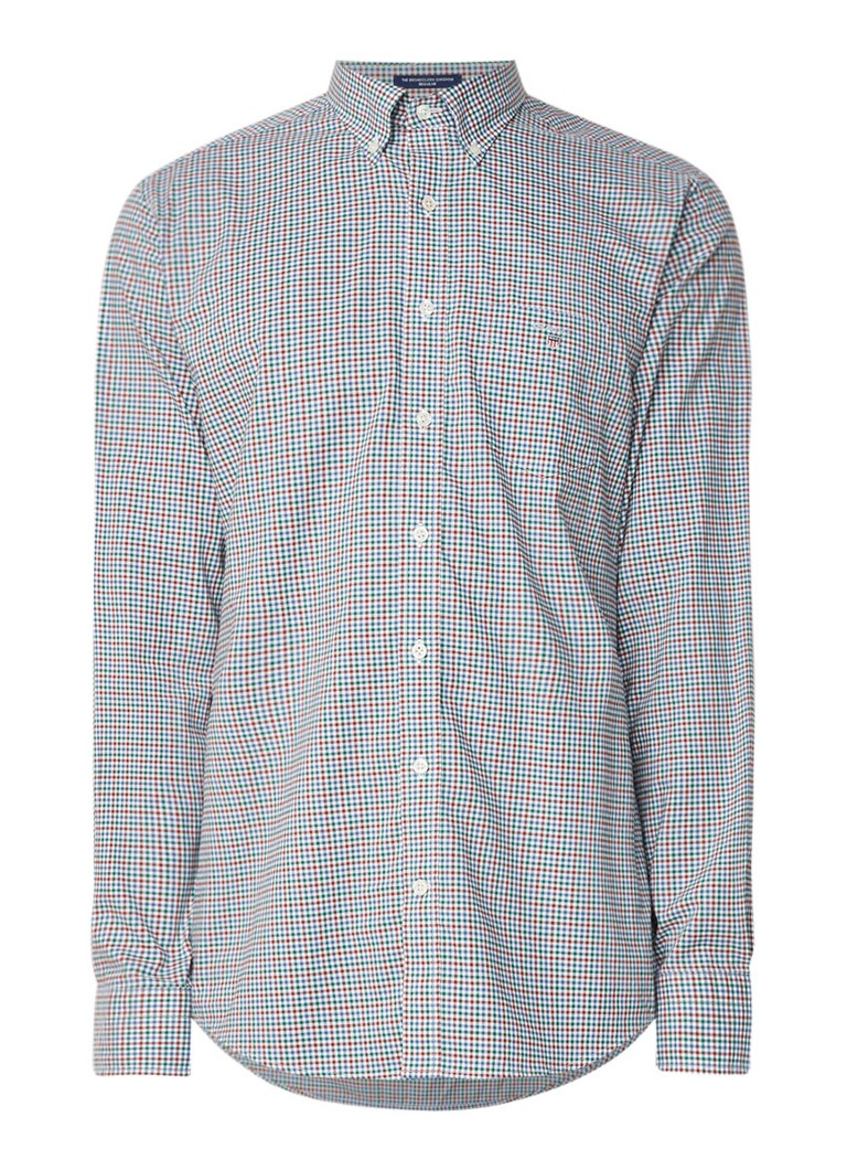 Gant Gingham regular fit button down-overhemd met micro blokruit