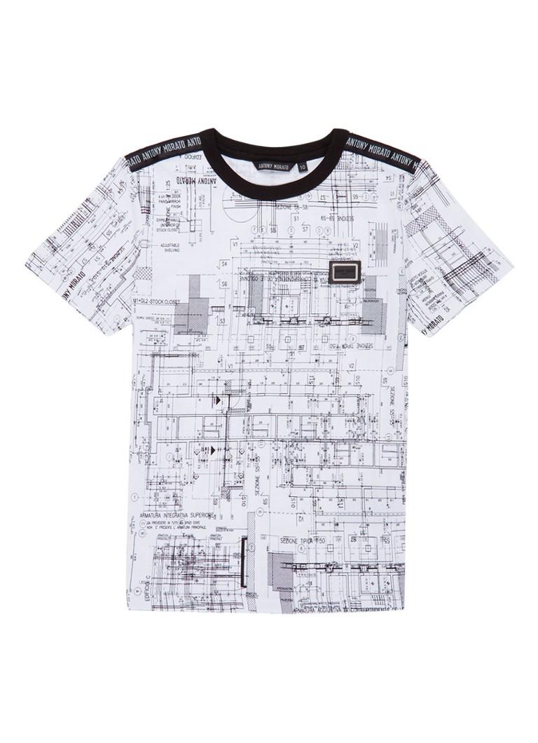 Antony Morato T-shirt met print en logo detail op schouder