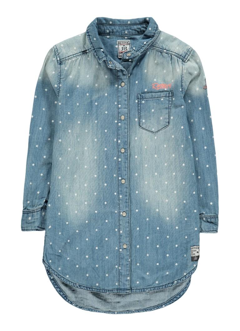 Retour Jeans Tess blouse in denimlook met sterrenprint