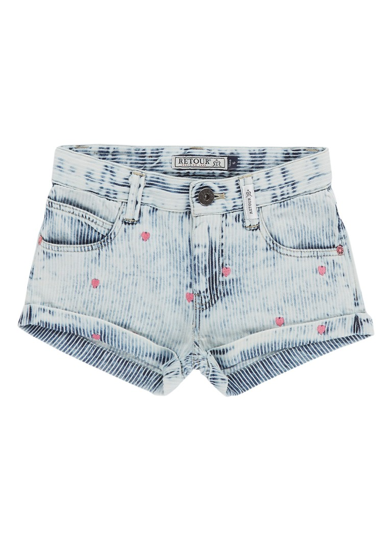 Retour Jeans Denim shorts met streepdessin en borduring