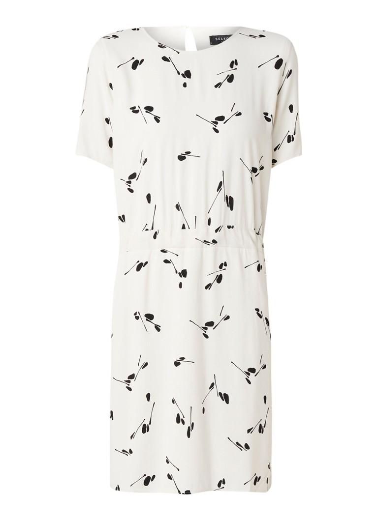 Selected Femme Anna midi-jurk van crêpe met dessin creme