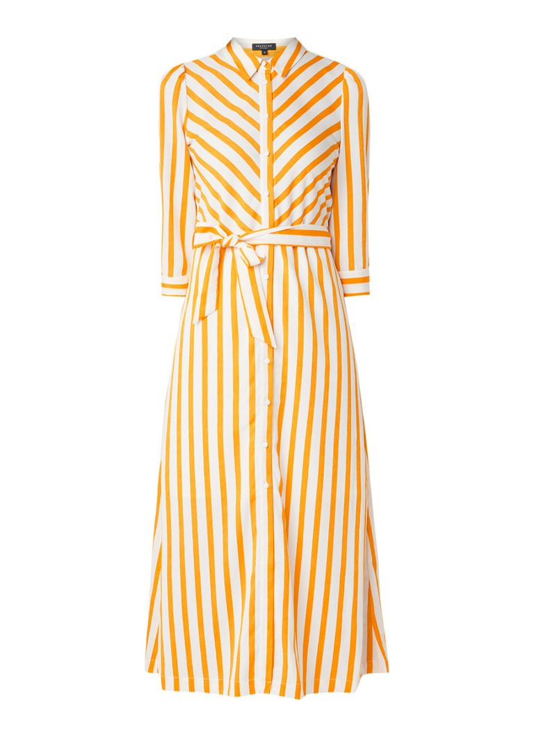 Selected Femme Dorit maxi blousejurk met streepdessin geel