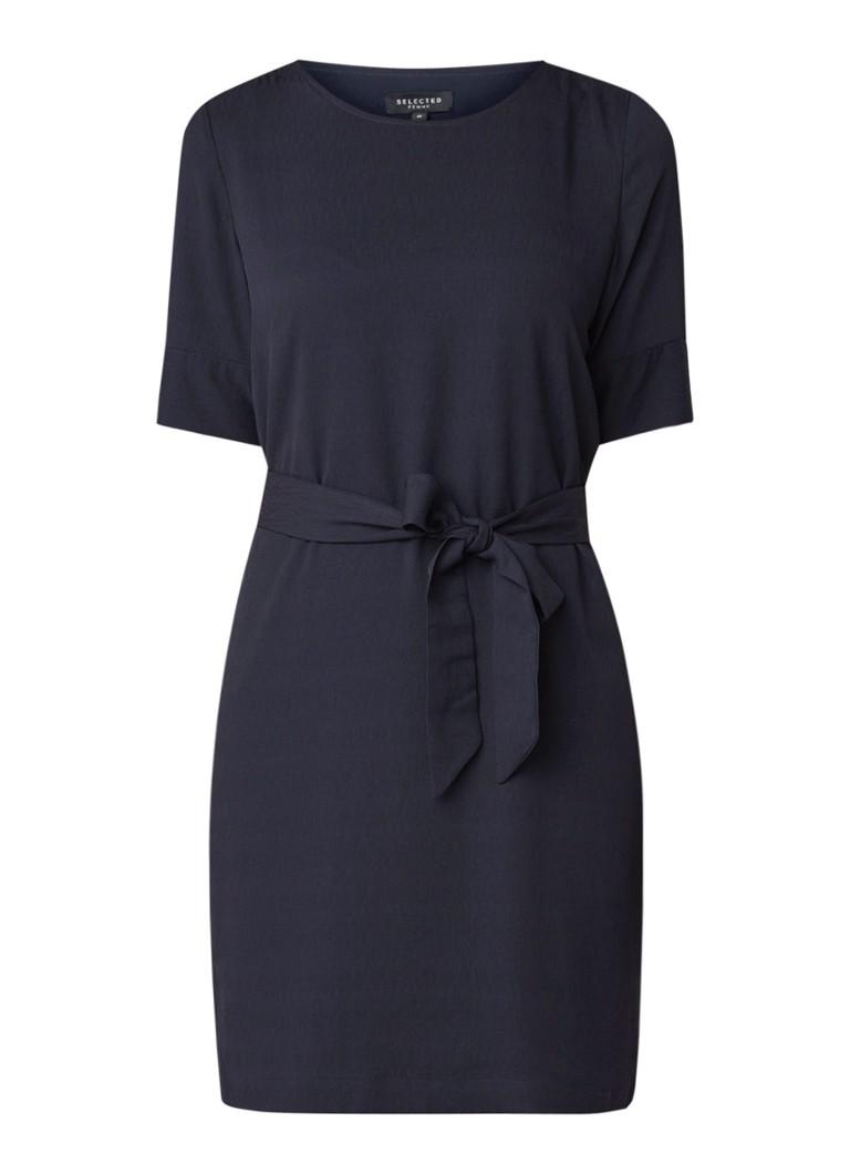Selected Femme Tunni tuniekjurk met structuur en strikceintuur donkerblauw