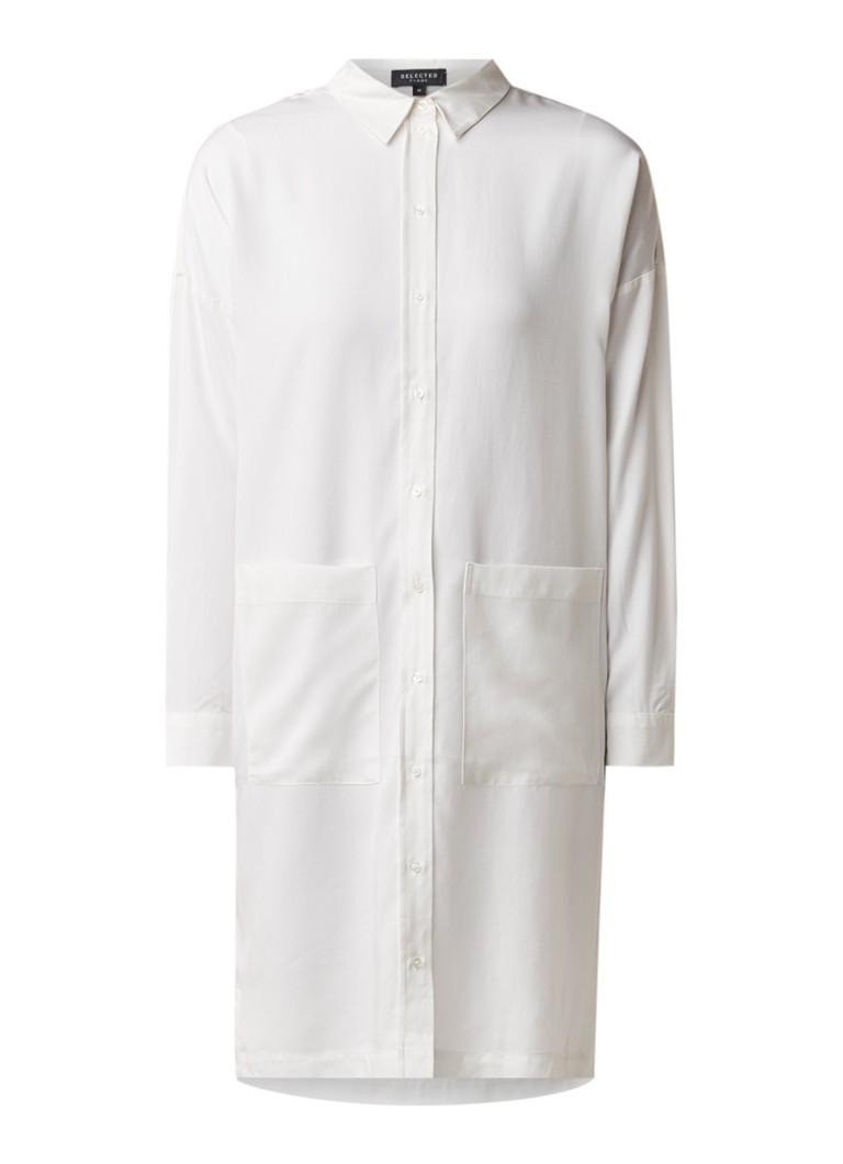 Selected Femme Tonia loose fit blousejurk met opgestikte zakken gebroken wit