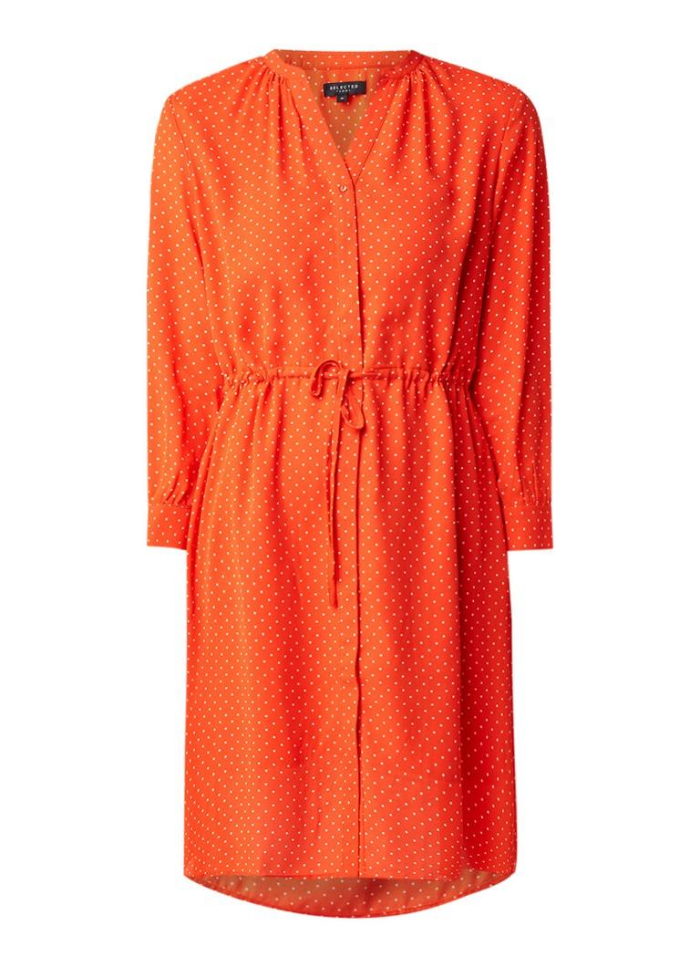 Selected Femme Damina loose fit jurk met stippendessin en trekkoord lichtrood