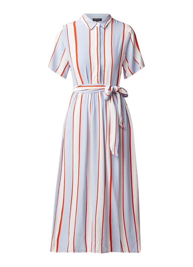 Selected Femme Rory midi-jurk met streepdessin en striksluiting lichtblauw