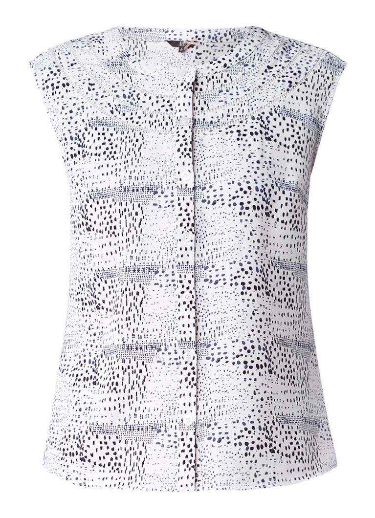 Dept Mouwloze blouse met print en opengewerkte details