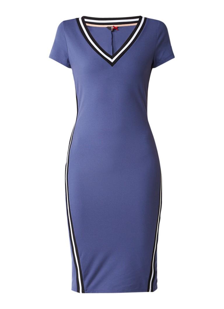 Dept Jersey jurk met gestreepte bies blauw