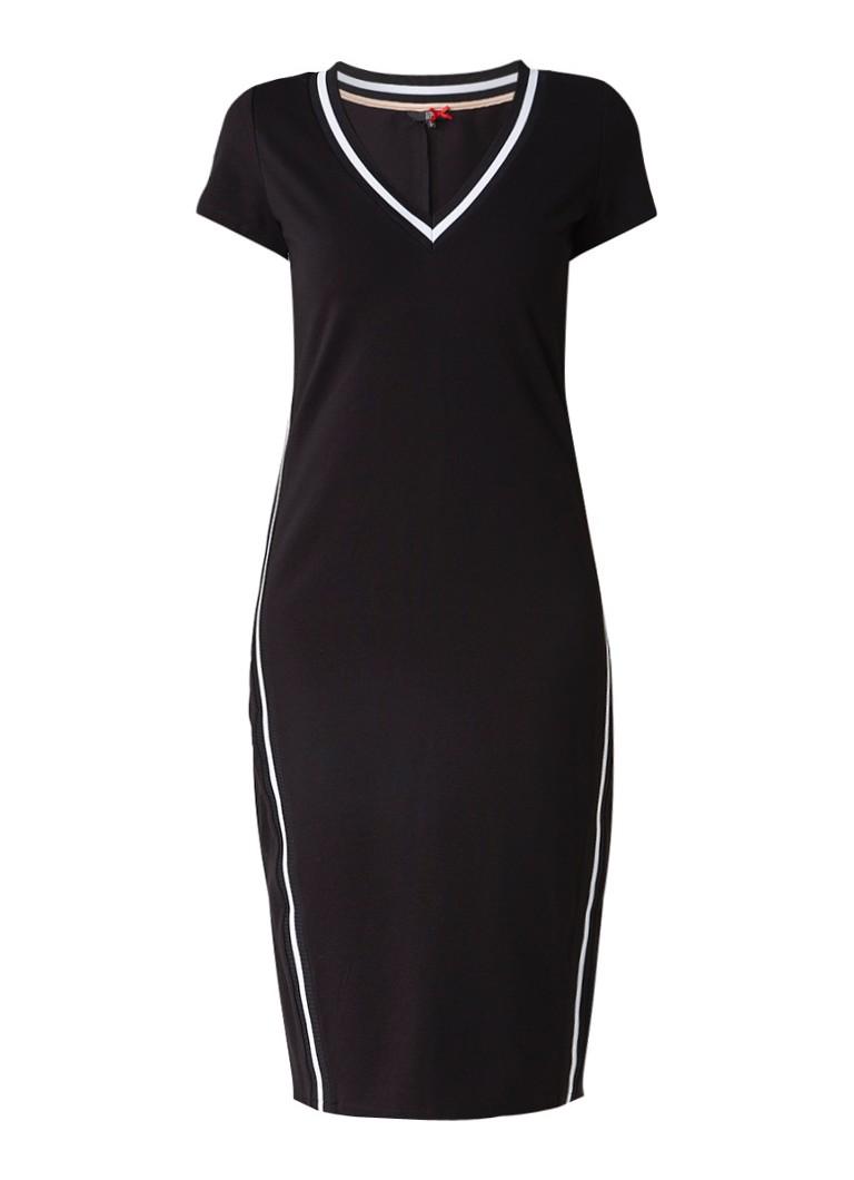 Dept Midi-jurk met gestreepte bies en V-hals zwart