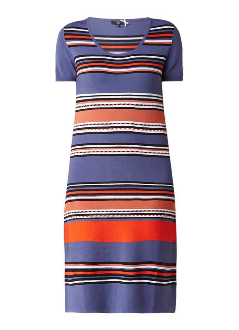 Dept Fijngebreide jurk met streepdessin blauw