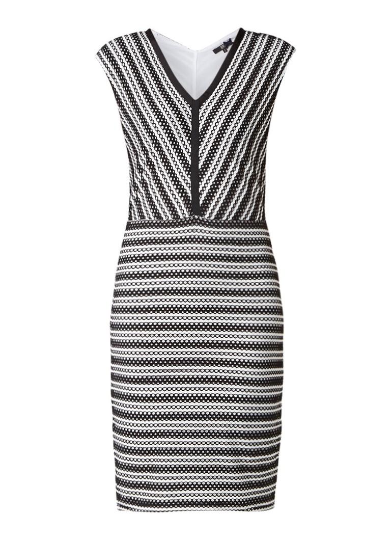 Dept Midi-jurk van jersey met opengewerkt dessin zwart