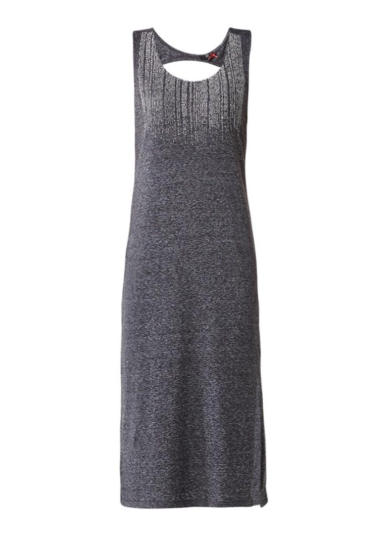 Dept Midi-jurk met cut-out en opdruk grijsmele