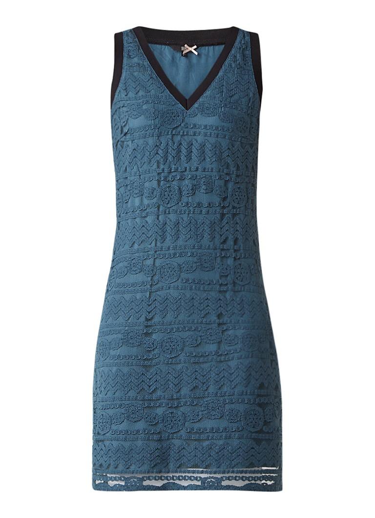 Dept Midi-jurk van kant met ribgebreide boorden zeegroen