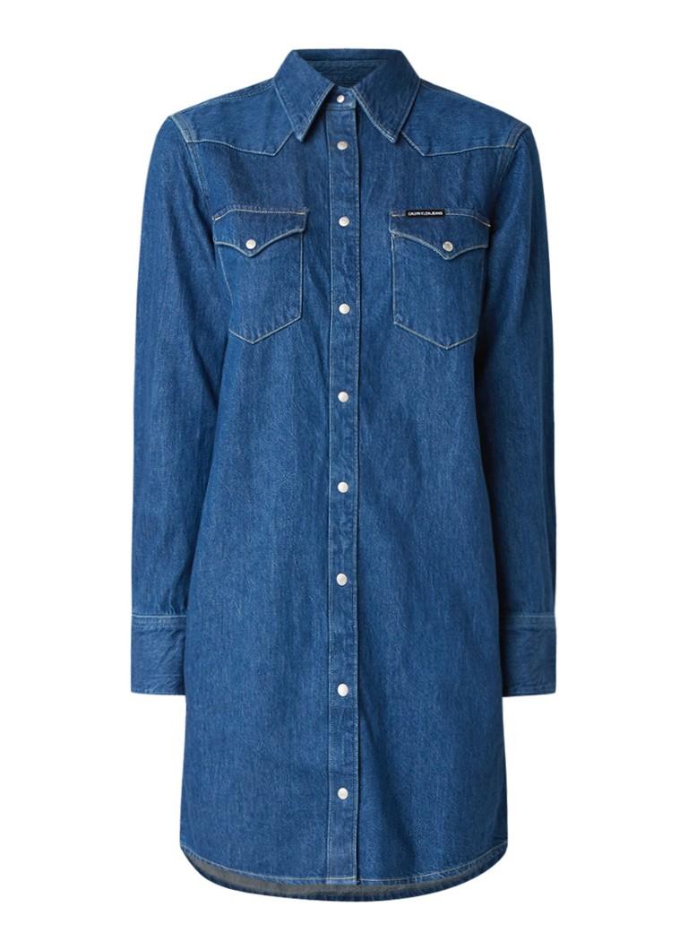 Calvin Klein Foundation Western blousejurk van denim indigo