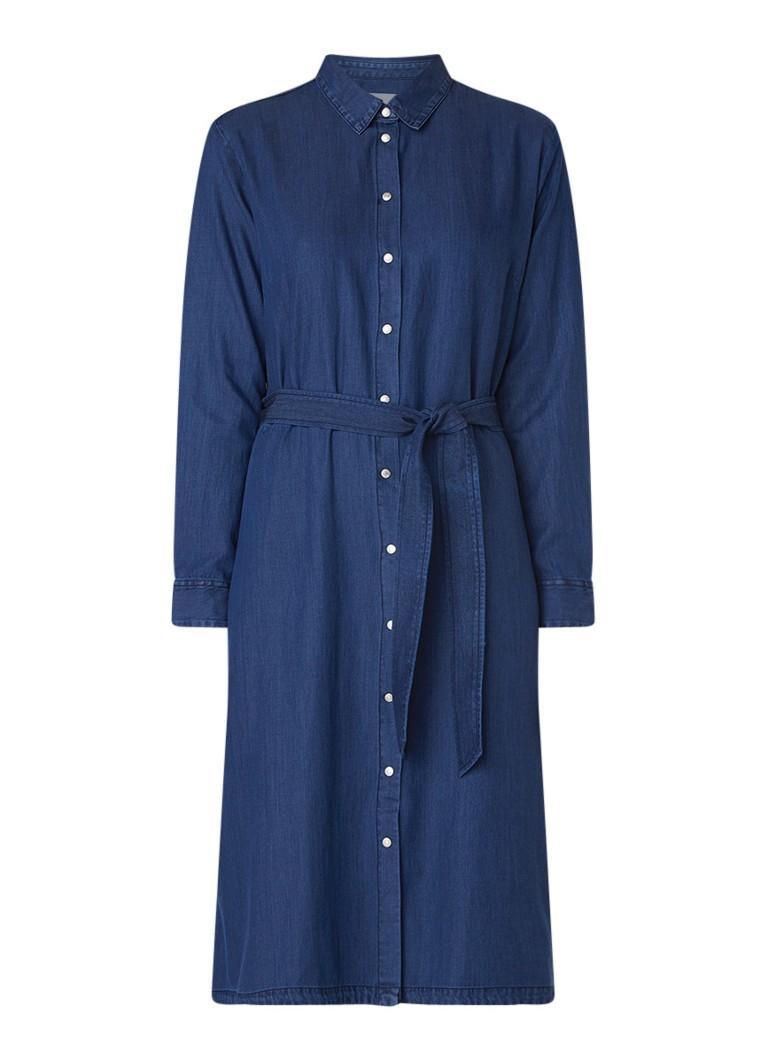 Calvin Klein A-lijn blousejurk van chambray indigo