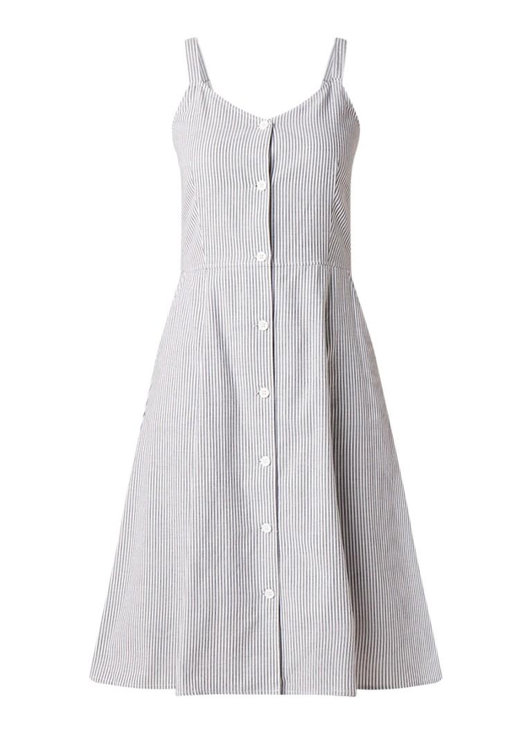 Calvin Klein Mouwloze blousejurk met sreepdessin staalblauw