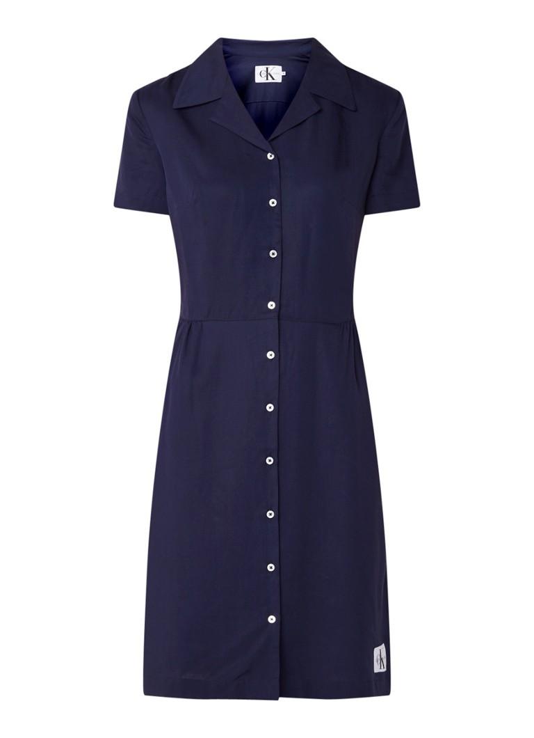 Calvin Klein Drapey blousejurk met korte mouw donkerblauw