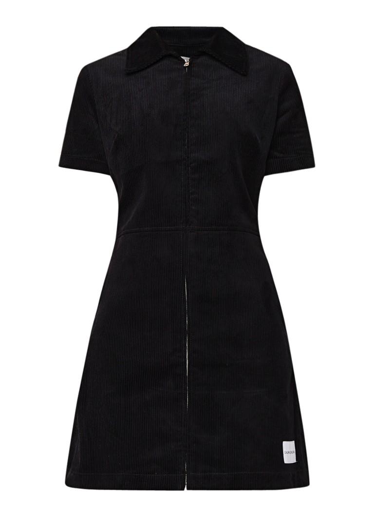 Calvin Klein Mini-jurk van corduroy met kraag zwart