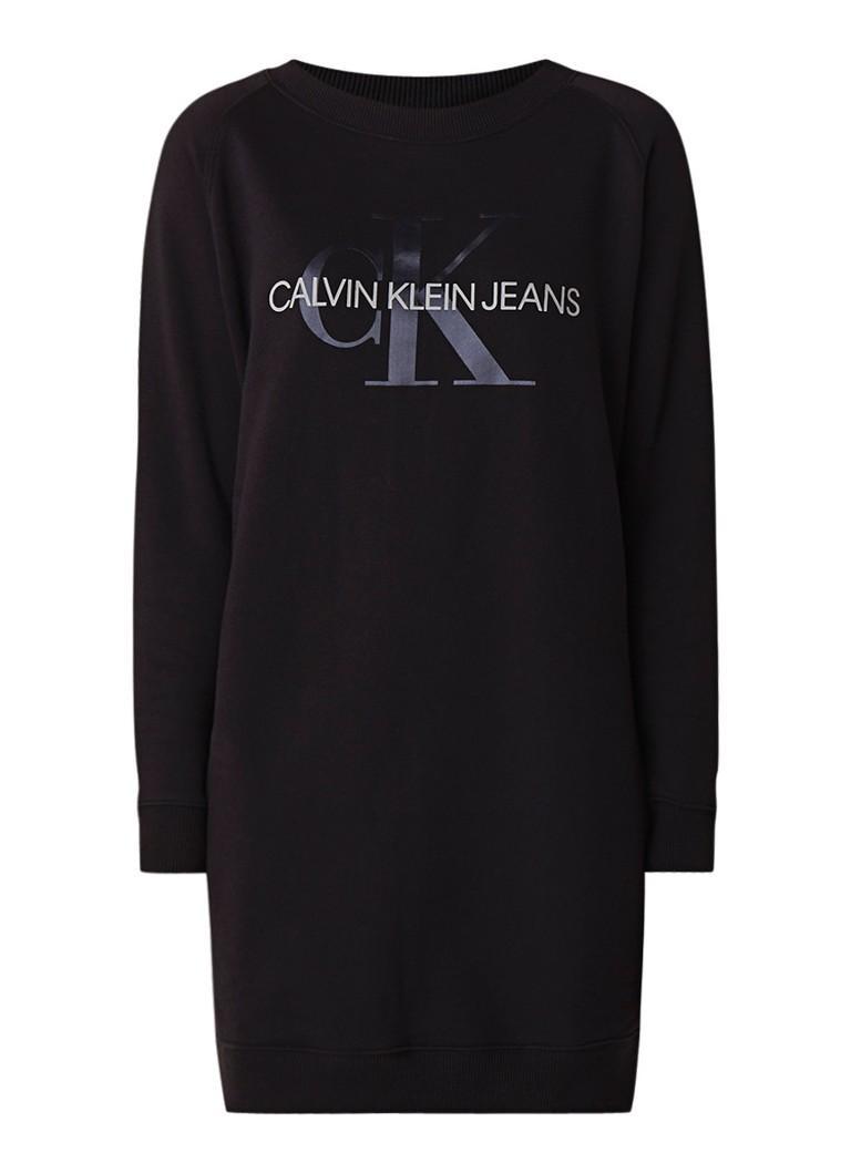 Calvin Klein Monogram sweaterjurk met logoprint wit