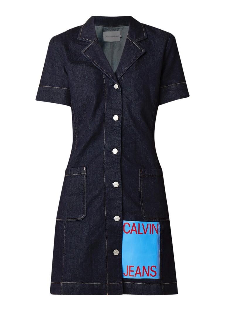 Calvin Klein Waitress spijkerjurk met logopatch indigo