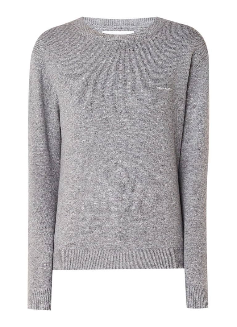 Image of Calvin Klein Fijngebreide trui in wolblend met ingebreid logo