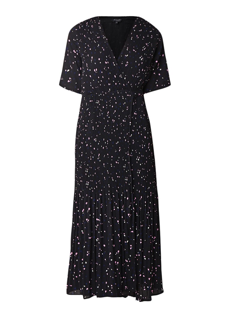Selected Femme Piper maxi wikkeljurk met plissé en stippendessin zwart