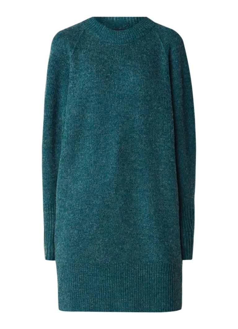 Selected Femme Ena fijngebreide trui-jurk in wolblend donkergroen