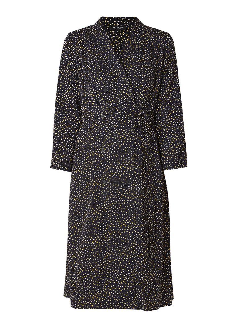 Selected Femme Bonita blousejurk met double breasted-knoopsluiting zwart