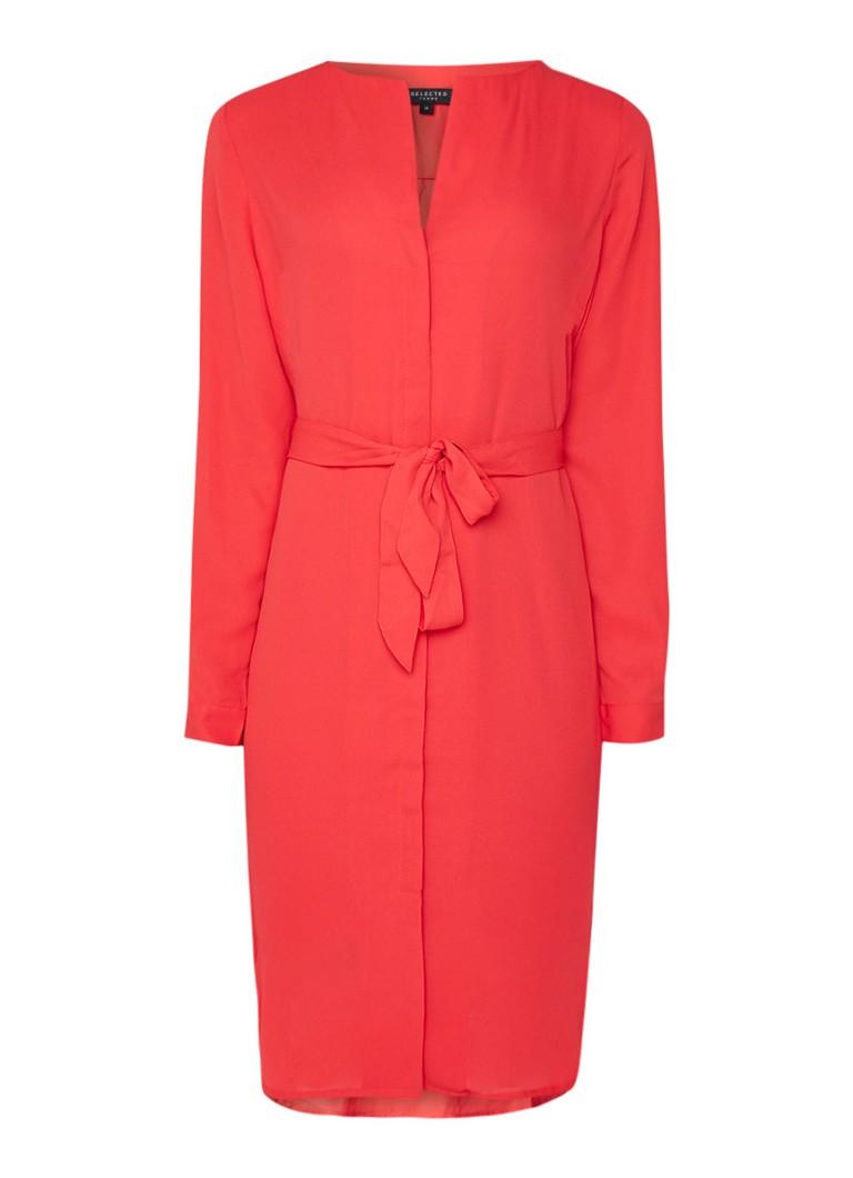 Selected Femme Dynella blousejurk met V-hals en ceintuur rood