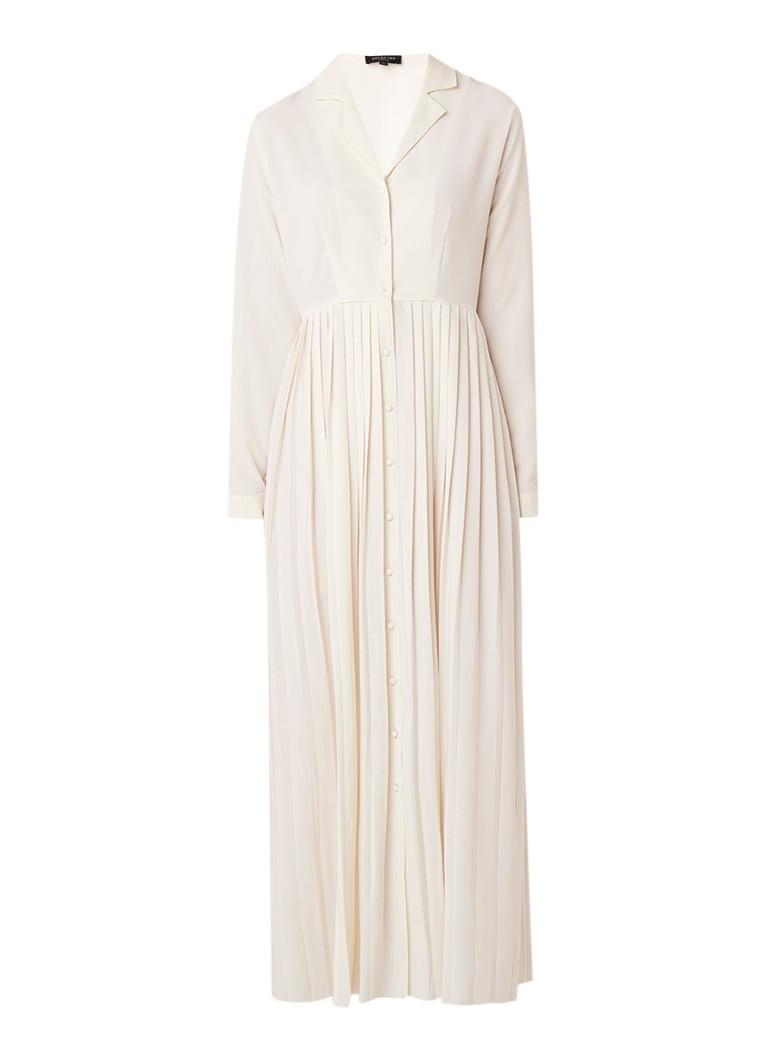 Selected Femme Alexis maxi blousejurk van crêpe met plissé gebroken wit