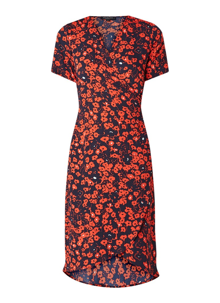 Selected Femme Lily wikkeljurk met bloemendessin rood