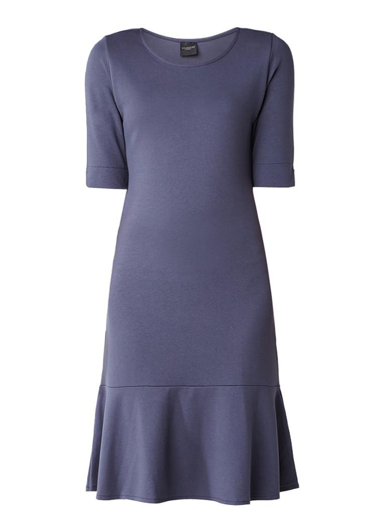 Selected Femme Tori jurk van jersey met uitlopende onderkant blauwgrijs