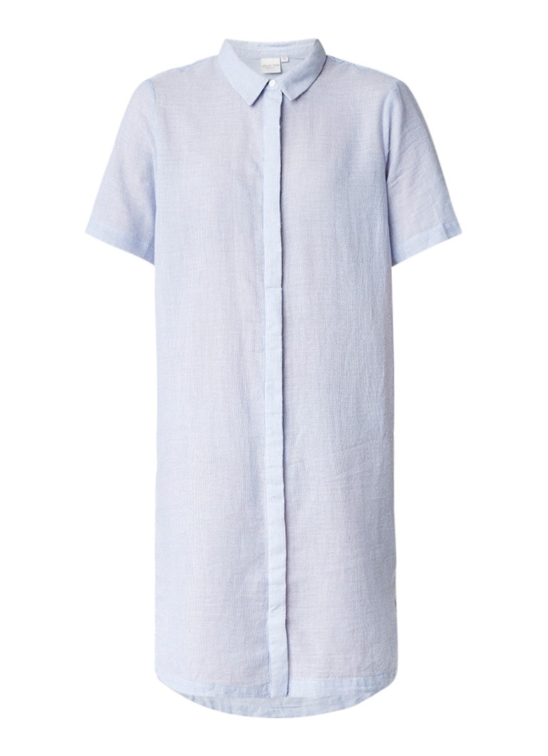 Selected Femme Chrissie blousejurk van katoen met streepdessin lichtblauw