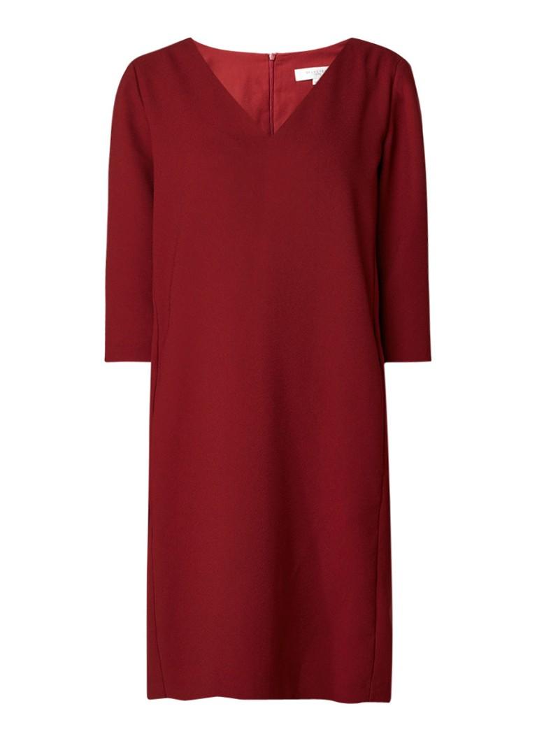 Selected Femme Tunni midi-jurk met steekzakken bordeauxrood