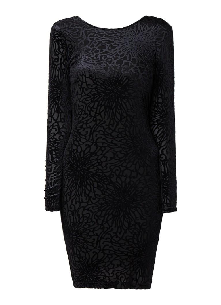 Selected Femme Mila jurk met fluwelen flockprint en rugdecolleté zwart