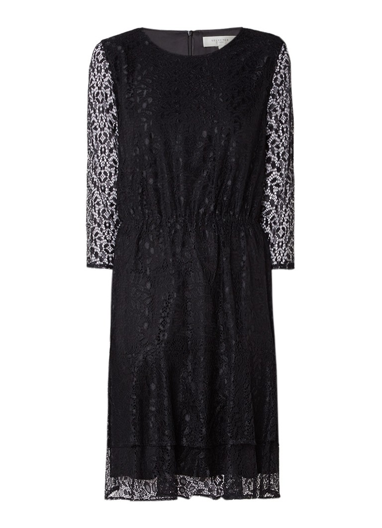 Selected Femme Marcia A-lijn jurk van kant zwart