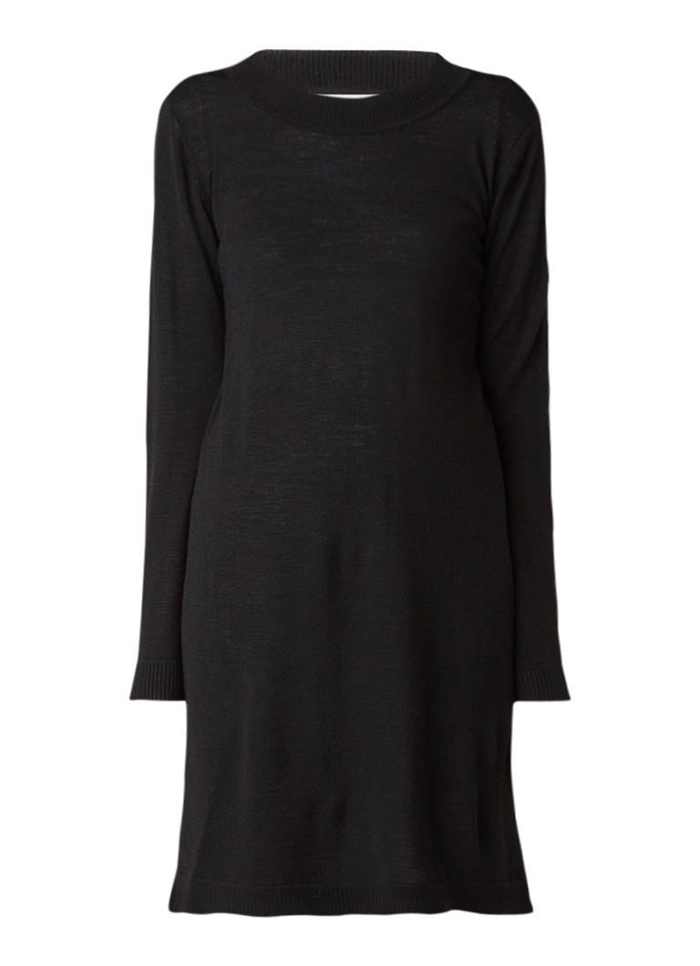 Selected Femme Eileen fijngebreide trui-jurk in wolblend zwart