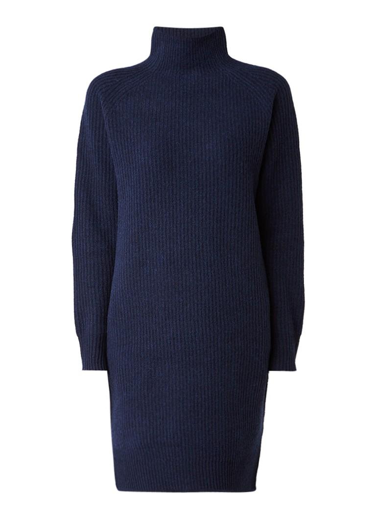 Selected Femme Carne grofgebreide jurk van wol met lange mouw donkerblauw