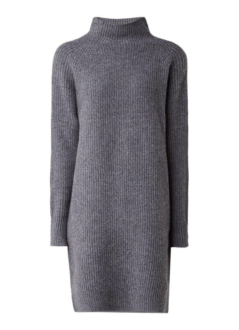 Selected Femme Carne ribgebreide midi-jurk van wol grijs