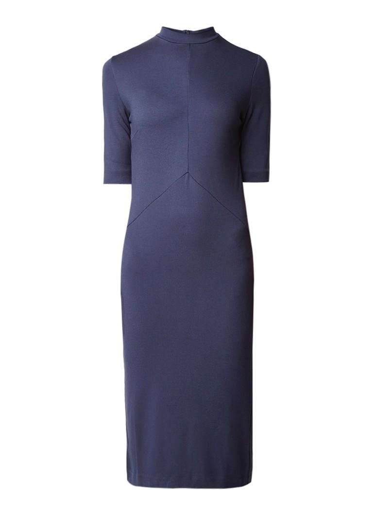 Selected Femme Elsie kokerjurk van jersey met mini col blauwgrijs