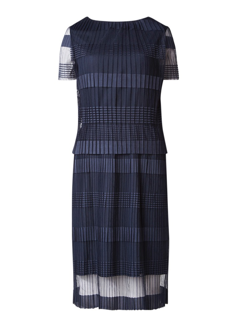 Selected Femme Flilja jurk met overlay en plissé middenblauw