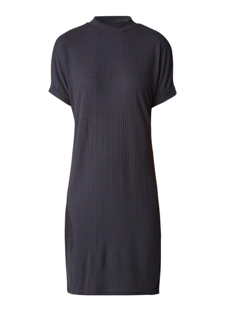 Selected Femme Sfranje ribgebreide jurk van jersey antraciet