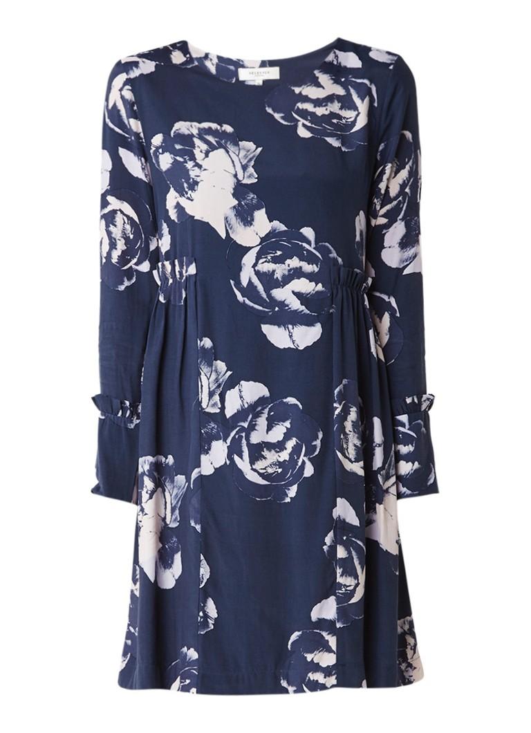 Selected Femme Tamira jurk met ruches en bloemendessin indigo