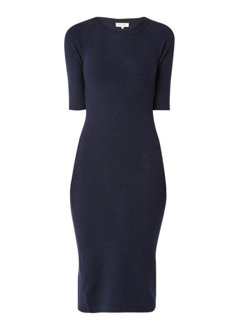 Selected Femme Inetta fijngebreide midi-jurk met split donkerblauw