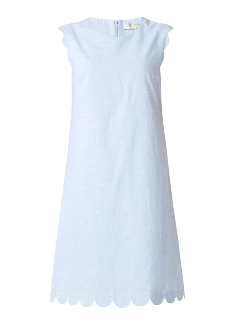 Selected Femme Alexie shift jurk met geschulpte zoom lichtblauw
