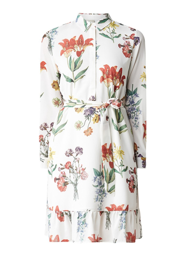 Selected Femme Dixie blousejurk met bloemdessin gebroken wit